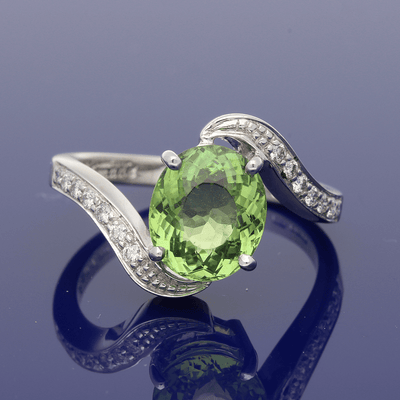 9ct White Gold Tourmaline & Diamond Twist Ring