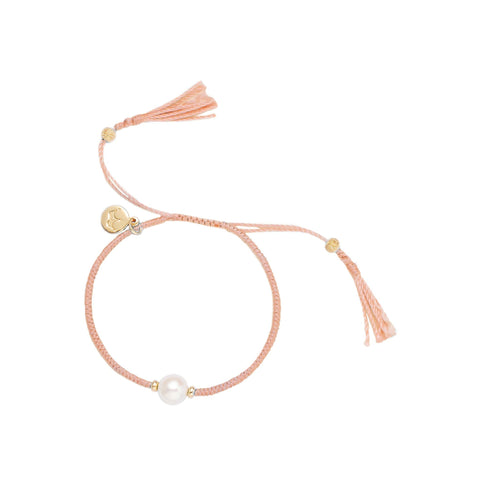 Jersey Pearl Tassel Collection 8-8.5mm Freshwater Pearl Delicate Peach Silk Bracelet