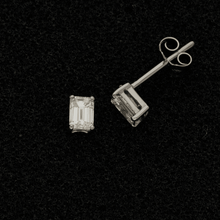 18ct White Gold 0.56ct Emerald Cut Diamond Stud Earrings