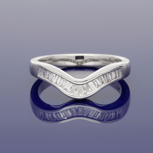 Platinum Baguette Diamond Shaped Eternity Ring