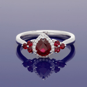 18ct White Gold Ruby & Diamond Cluster Ring