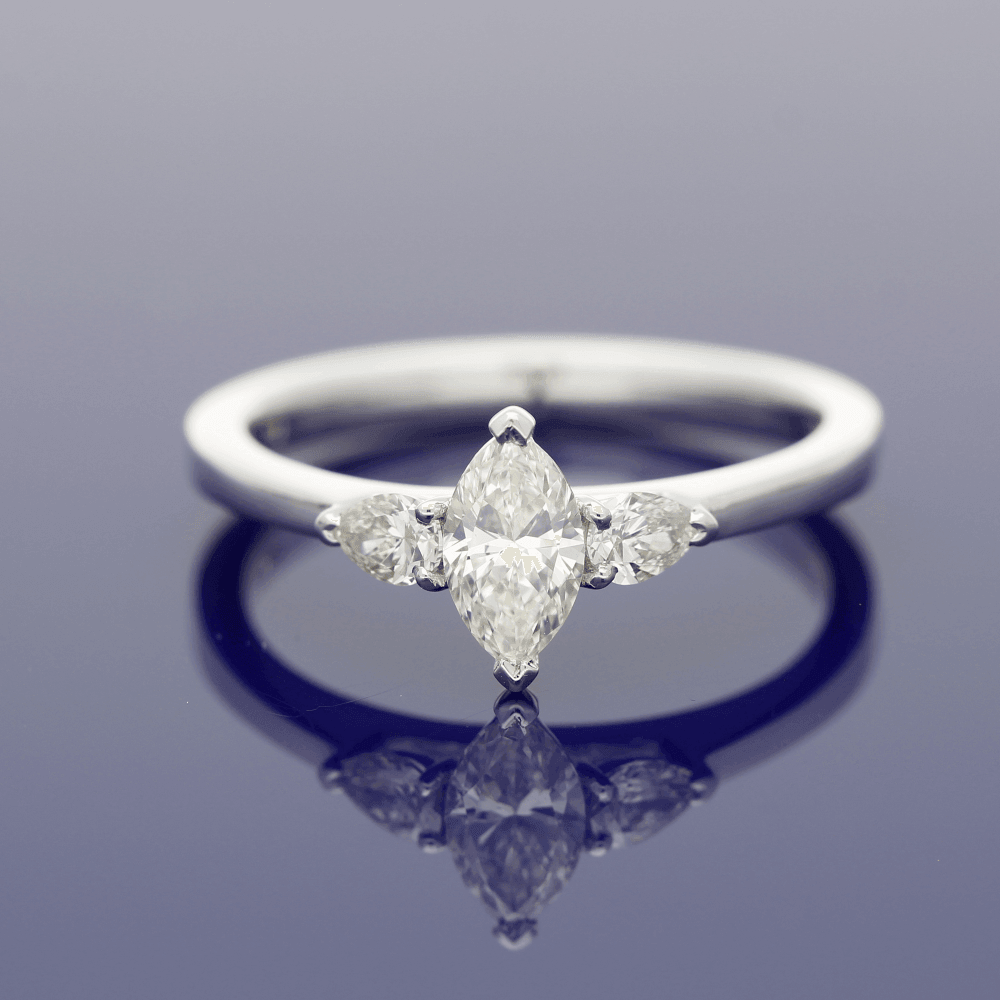 18ct White Gold Marquise & Pear Shape Diamond Trilogy