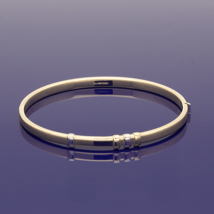 9ct Yellow Gold Bangle with Rose & White Gold Decoration