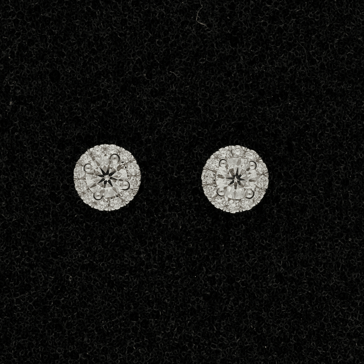 18ct White Gold Diamond Halo Cluster Stud Earrings
