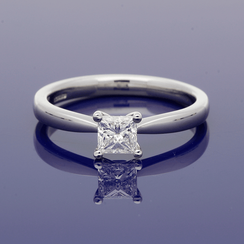 Platinum 0.49ct Princess Cut Diamond Ring