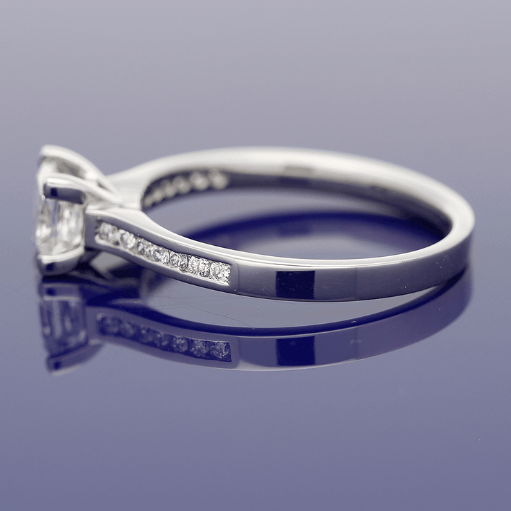 Platinum Certificated 0.79ct Princess Cut Diamond Solitaire Engagement Ring with Diamond Set Shoulders