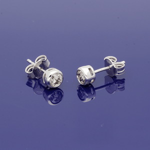 18ct White Gold Diamond Rub-over Set Stud Earrings