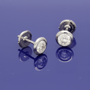 18ct White Gold 1.10ct Diamond Rub-over Set Stud Earrings