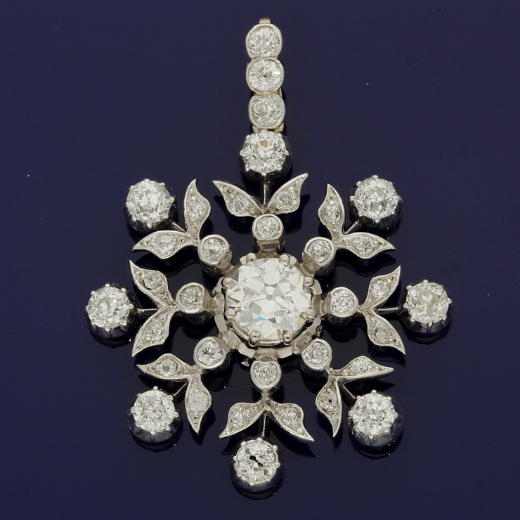 Antique Floral Diamond Pendant 3.96ct