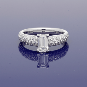 Platinum Emerald Cut Diamond with Pave Diamond Shoulders