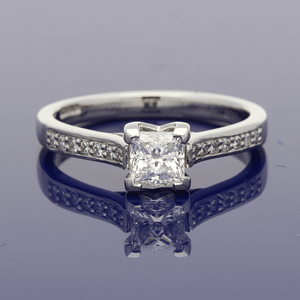 Platinum Princess Cut Solitaire with Diamond Set Shoulders