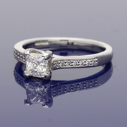 Platinum 0.57ct Certificated Princess Cut Diamond Solitaire Ring with Diamond Set Shoulders