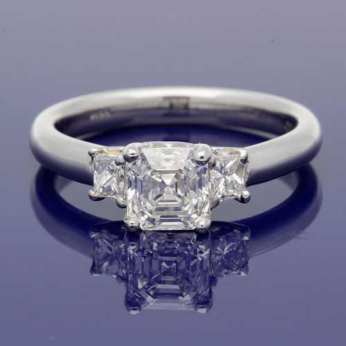Platinum Asscher Cut & Princess Cut Diamond Trilogy Ring