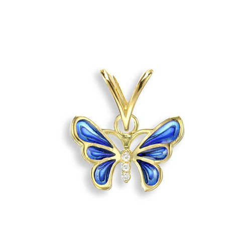 Nicole Barr 18ct Gold & Enamel Butterfly Pendant with Diamond