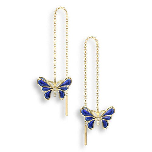 Nicole Barr 18ct Gold & Enamel Butterfly Threader Earrings with Diamond