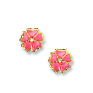 Nicole Barr 18ct Gold & Enamel Flower Earrings with Diamond