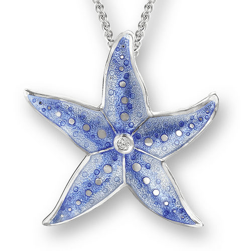 Nicole Barr Silver & Enamel Starfish Necklace with White Sapphire