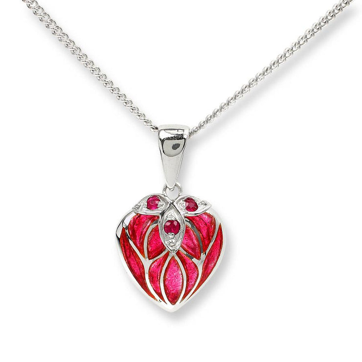 Nicole Barr Silver & Enamel Heart Necklace with Ruby