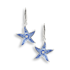 Nicole Barr Silver & Enamel Starfish Earrings with White Sapphire