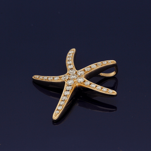 18ct Rose Gold & Diamond Starfish Pendant