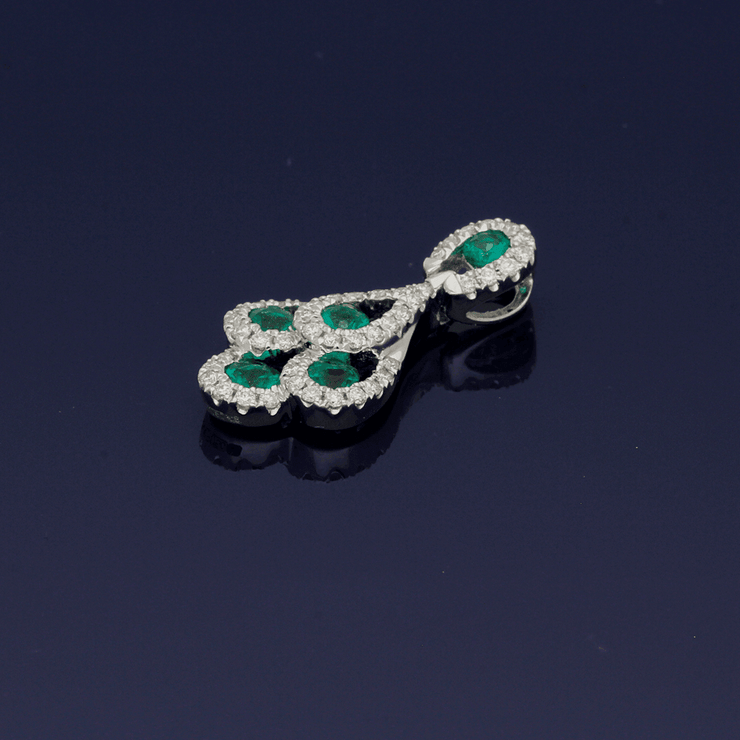 18ct White Gold Emerald & Diamond Peacock Pendant