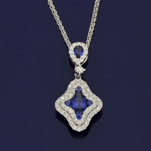 18ct White Gold Sapphire & Diamond Necklace