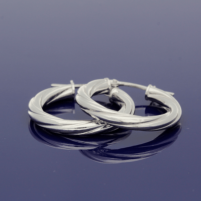 9ct White Gold 15mm Twisted Hoop Earrings