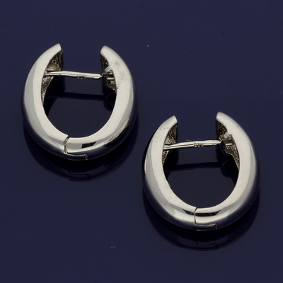 9ct White Gold Huggie Hoop Earrings