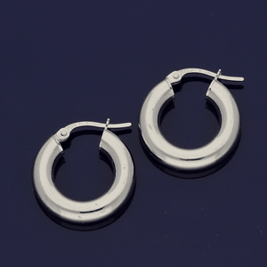 18ct White Gold 10mm Hoop Earrings