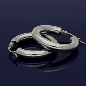 18ct White Gold 15mm Hoop Earrings