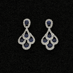 18ct White Gold Sapphire & Diamond Peacock Earrings