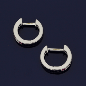 18ct White Gold Ruby & Diamond Channel Set Small Hoop Earrings