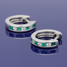 18ct White Gold Emerald & Diamond Channel Set Small Hoop Earrings
