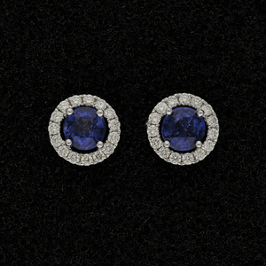 18ct White Gold Oval Sapphire & Diamond Halo Cluster Earrings