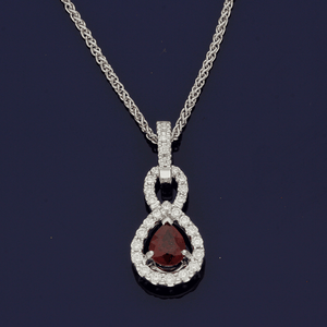 18ct White Gold Pear Cut Ruby & Diamond Necklace