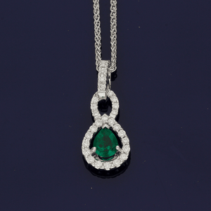 18ct White Gold Pear Cut Emerald & Diamond Necklace