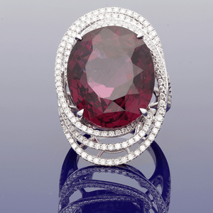 18ct White Gold Rhodalite Garnet & Diamond Cocktail Ring