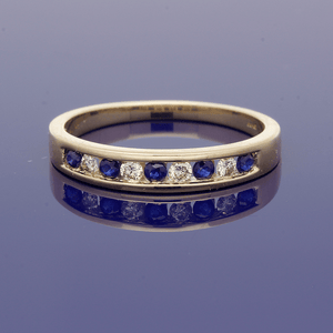 9ct Yellow Gold Sapphire & Diamond Half Eternity Ring