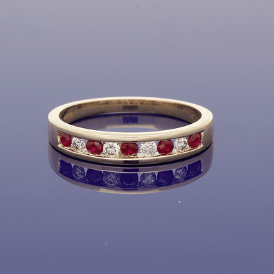 9ct Yellow Gold Ruby & Diamond Half Eternity Ring