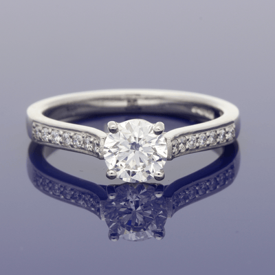 Platinum Certificated 0.81ct Round Brilliant Cut Diamond Solitaire Engagement Ring with Diamond Set Shoulders
