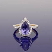 18ct White Gold and 18ct Yellow Gold Tanzanite & Diamond Pear Shape Cluster Ring