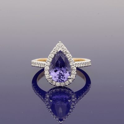 18ct Gold Tanzanite & Diamond Pear Shape Cluster Ring