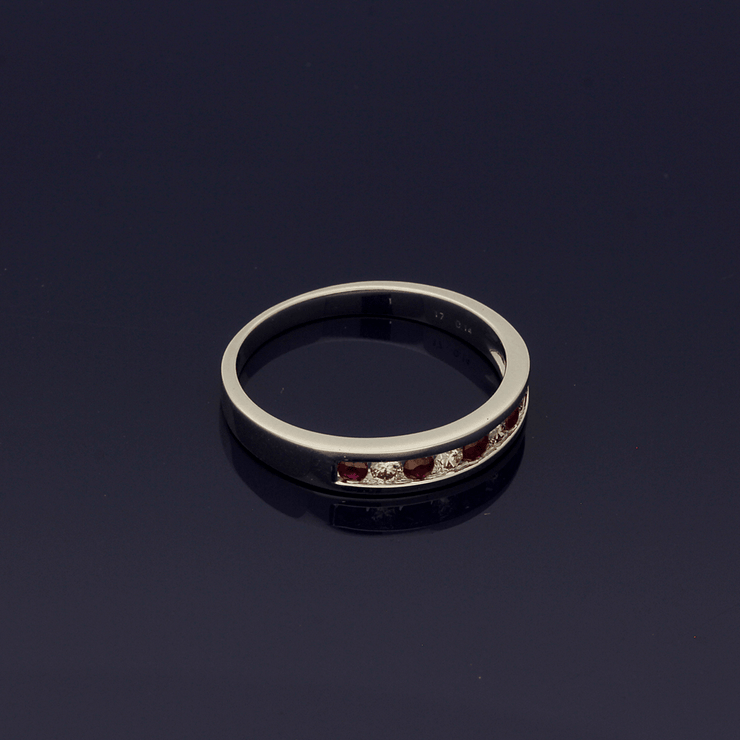 9ct White Gold Ruby & Diamond Half Eternity Ring