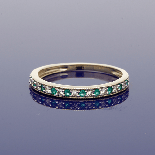 9ct Yellow Gold Emerald & Diamond Half Eternity Ring