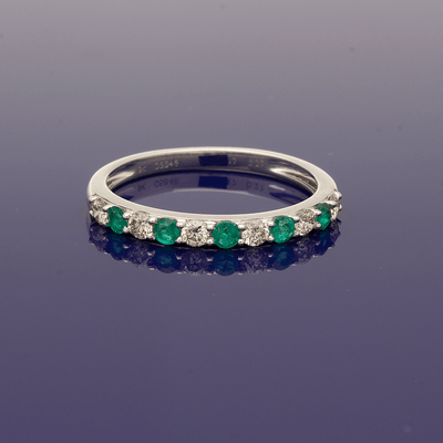 9ct White Gold Emerald & Diamond Half Eternity Ring