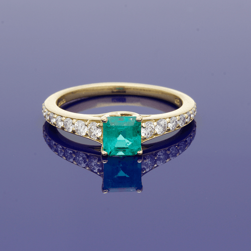 18ct Yellow Gold Emerald and Diamond Ring