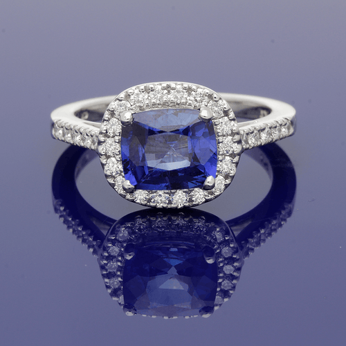 Platinum, Diamond & Sapphire Cushion Shape Cluster Ring