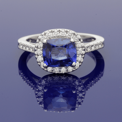 Platinum Diamond & Sapphire Cushion Shape Cluster Ring