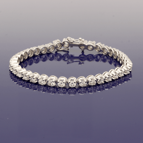 18ct White Gold Diamond Tennis / Line Bracelet 7.00ct