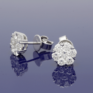 18ct White Gold Heart Claw Cluster Diamond Studs